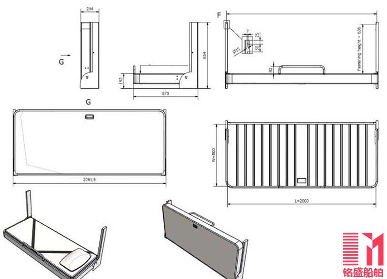 船用金属家具 船用铝制家具 船用折叠床 侧翻床